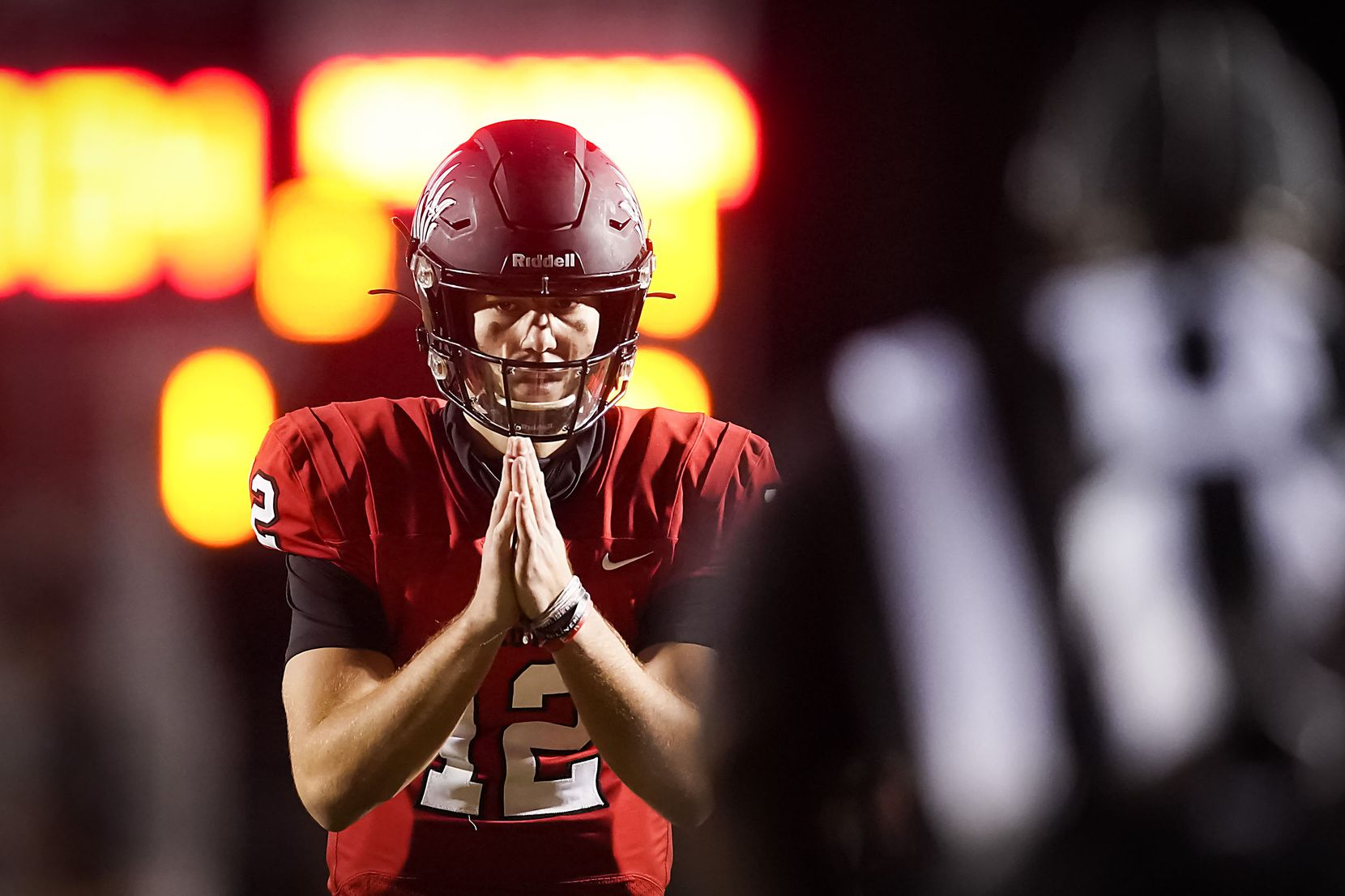 Argyle quarterback CJ Rogers waits for a snap during the first half of a high school football game against Melissa on Friday, Oct. 2, 2020, in Argyle, Texas. (Smiley N. Pool/The Dallas Morning News)