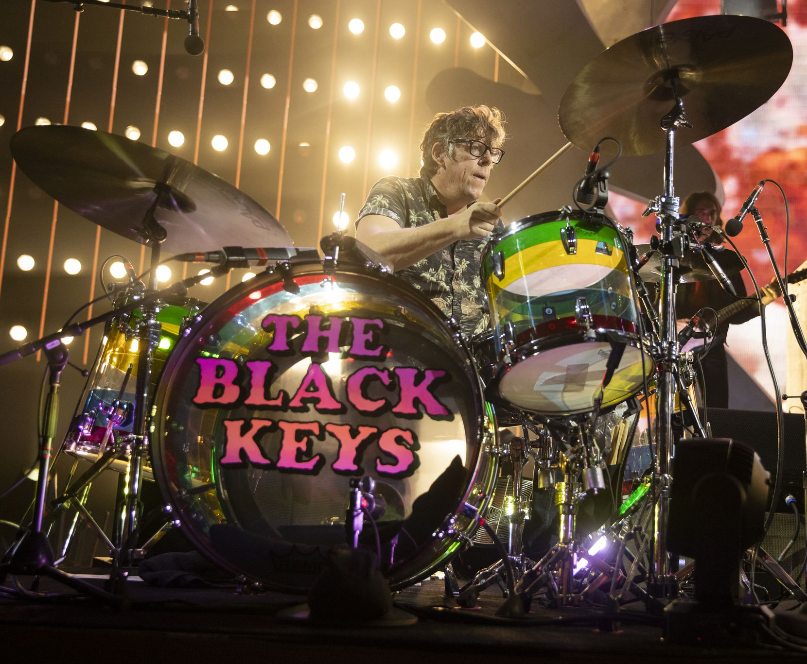 """Patrick Carney of the Black Keys performs as part of the band's """"Let's Rock"""" tour, at Dickies Arena on Nov. 14, 2019 in Fort Worth."""