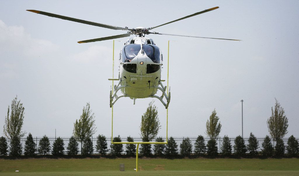Dallas Cowboys owner Jerry Jones arrived as the team unveiled its new corporate helicopter to the media  Thursday at the team headquarters in Frisco.