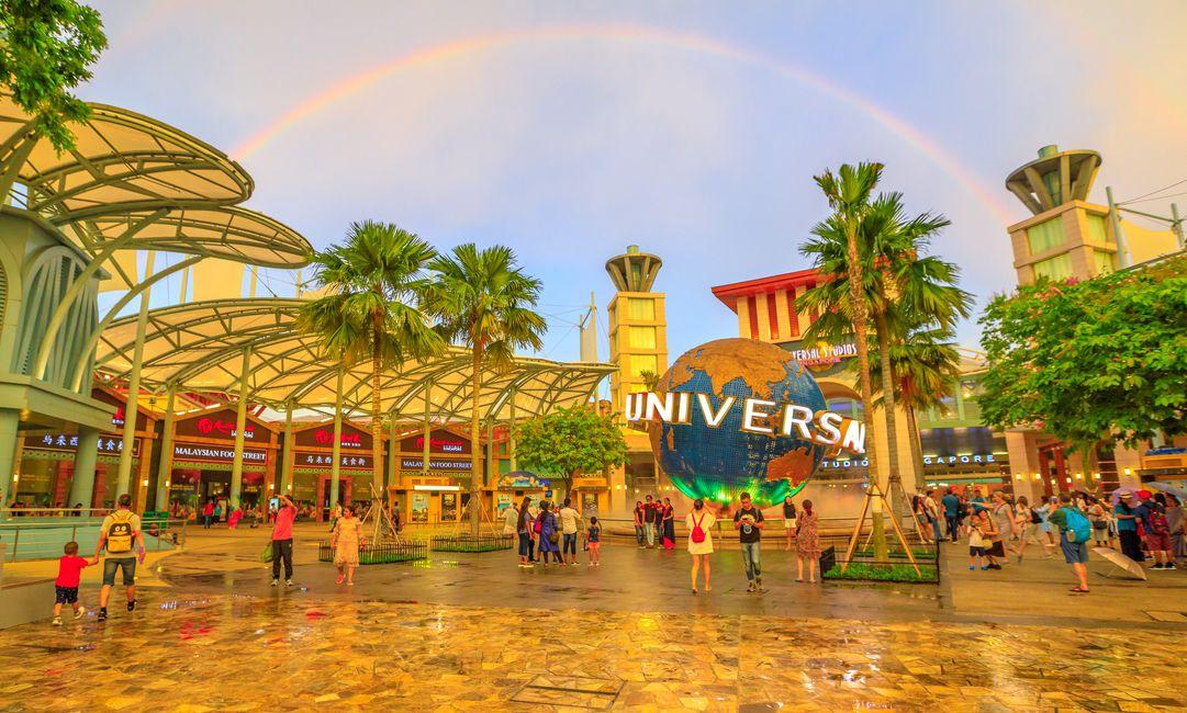 Ilustración de un parque temático de Universal Studios.