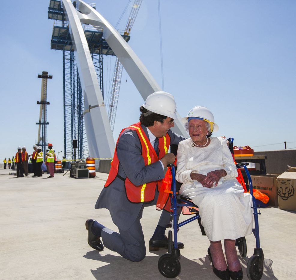 Architect Santiago Calatrava and Margaret McDermott share a moment together before a bridge signing on the Margaret McDermott Bridge on June 11, 2015.
