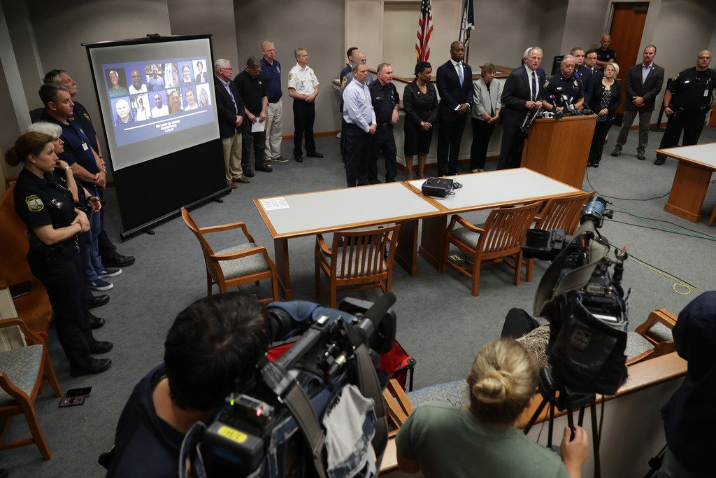 Virginia Beach City Manager Dave Hansen, Mayor Bobby Dyer, Police Chief James Cervera, city council members and other city officials hold a news conference June 01, 2019 in Virginia Beach, Virginia. The names of the 12 victims of Friday's shooting rampage at the Municipal Center were made public along with the identity of the shooter.