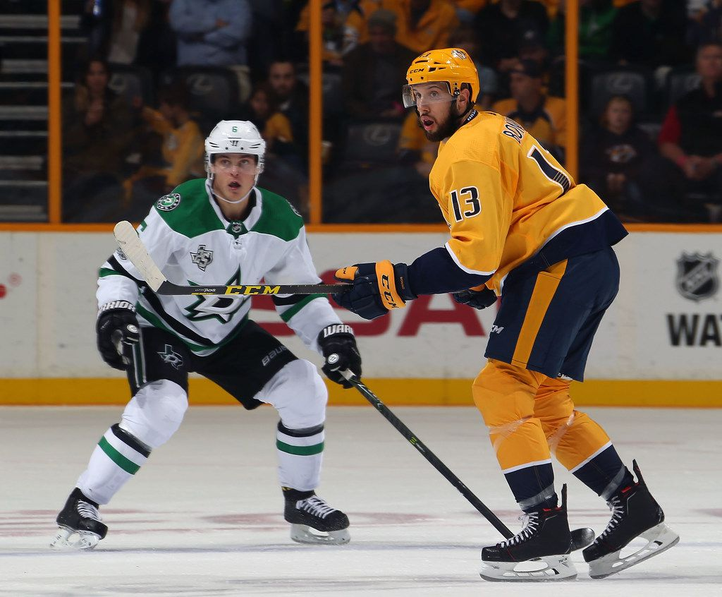 NASHVILLE, TN - OCTOBER 12:  Nick Bonino #13 of the Nashville Predators skates against Julius Honka #6 of the Dallas Stars during the second period at Bridgestone Arena on October 12, 2017 in Nashville, Tennessee.  (Photo by Frederick Breedon/Getty Images)