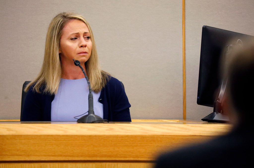 Fired Dallas police officer Amber Guyger becomes emotional as she testifies during her murder trial, Friday, Sept. 27, 2019, in Dallas. Guyger is accused of shooting and killing Botham Jean, an unarmed 26-year-old neighbor in his own apartment last year.