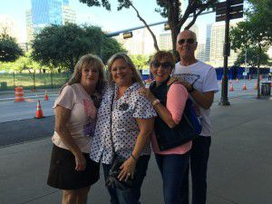 From left: Patty Hayes, Sheryl Radowick, Terri Persson and Erik Persson traveled from Plano and Allen to see Trump as part of Hayes' birthday present.