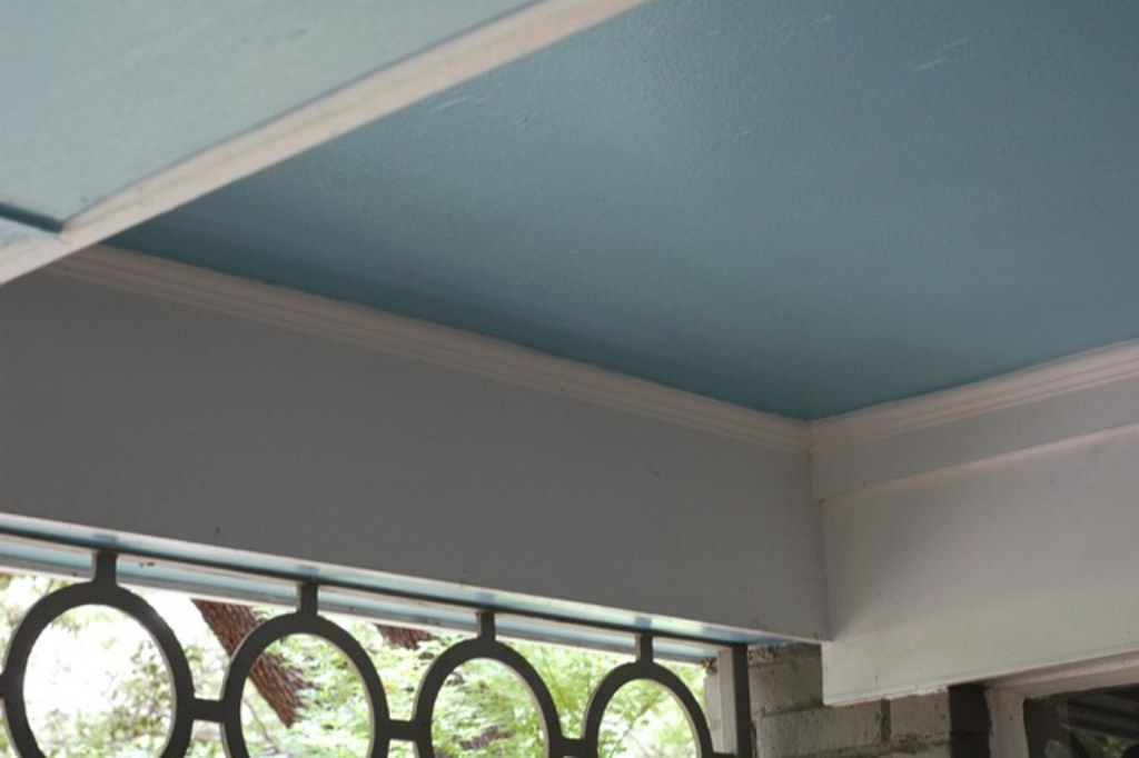 Haint blue is a pale shade of blue that is traditionally used to paint porch ceilings.