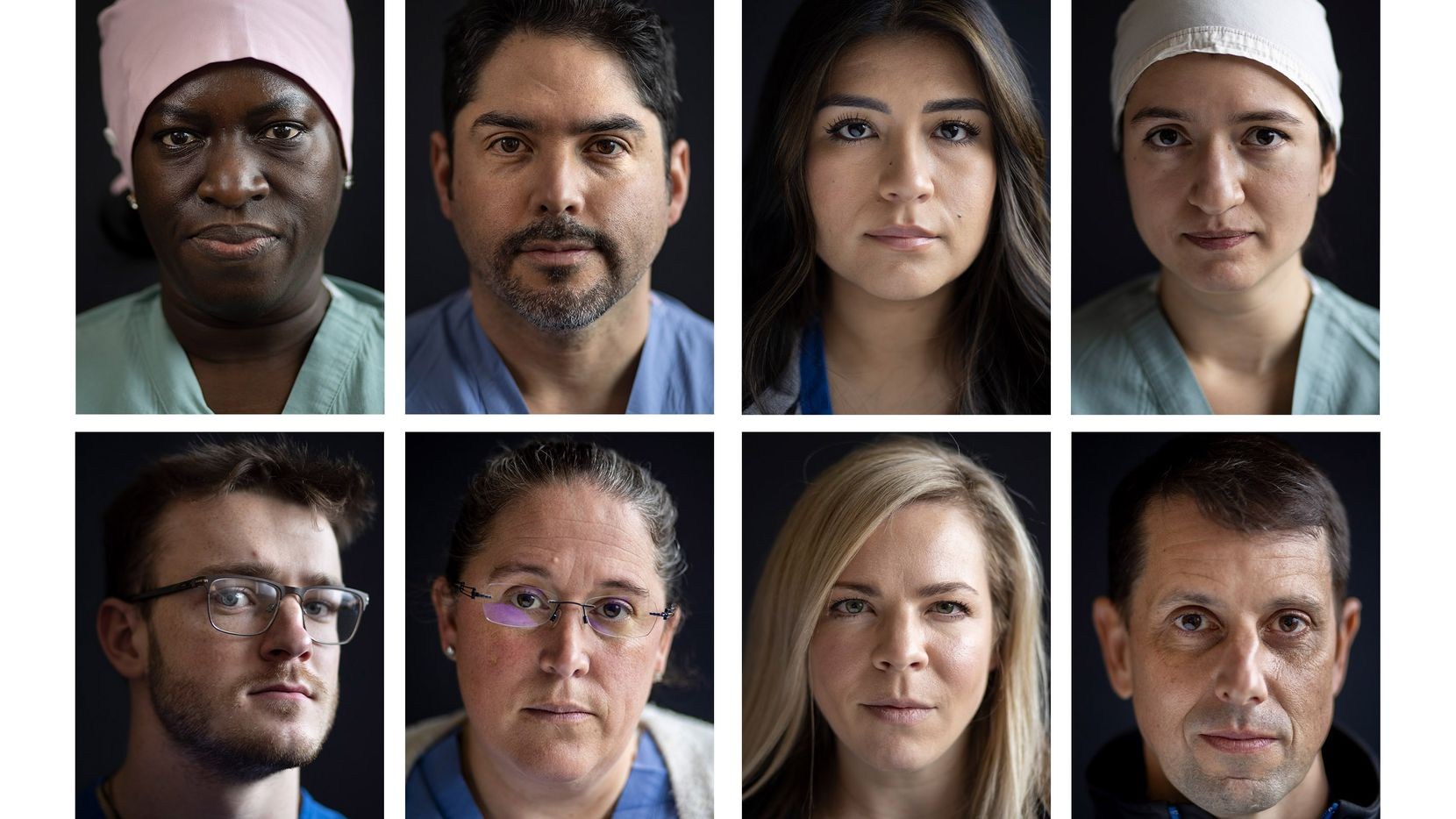 In this composite image are some of the team members in Parkland Memorial Hospital's COVID-19 Tactical Care Unit. From left, top row: nurse Lola Fatoyinbo, certified registered nurse anesthetist Steven Vela, nurse Bianca Castillo, nurse Byanka Ponce. Bottom row: nurse Sam White, nurse and senior vice president of nursing for surgical services Samantha Rowley, nurse Hannah Ramsey and Dr. Matt Leveno, Tactical Care Unit medical director. The team members were photographed Feb. 10.
