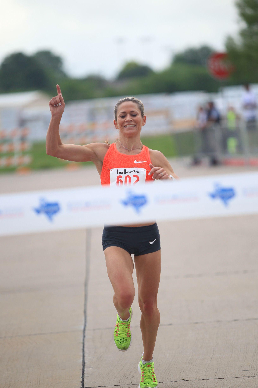 Dawn Grunnagle winning the inaugural Texas Big Star Half Marathon last year.
