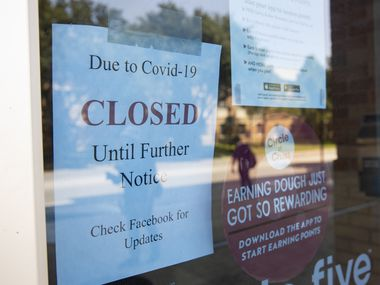 Pie Five Pizza on UT Arlington's campus is closed due to the pandemic on Aug. 14, 2020 in Arlington. (Juan Figueroa/ The Dallas Morning News)
