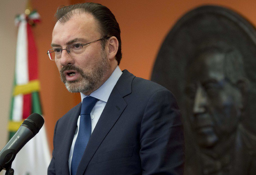 Mexican Foreign Secretary Luis Videgaray speaks during a press conference at the Mexican Embassy in Washington on April 6.