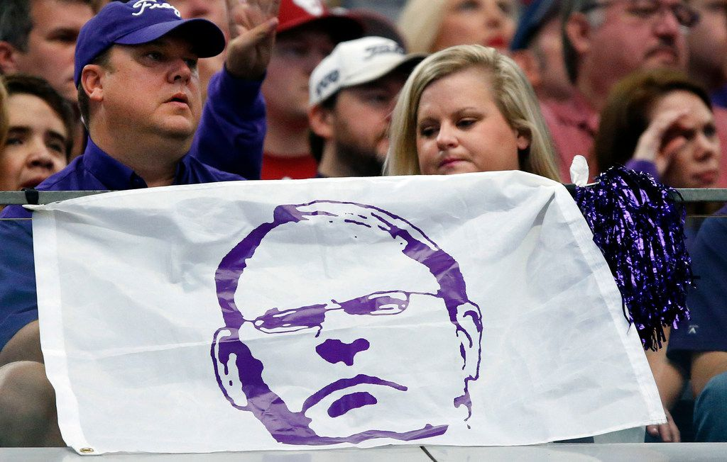 TCU Horned Frogs fans, and that of head coach Gary Patterson (pictured), didn't have too much to smile about as they were beaten by the Oklahoma Sooners in the Big XII Championship game at AT&T Stadium in Arlington, Texas, Saturday, December 2, 2017. (Tom Fox/The Dallas Morning News)