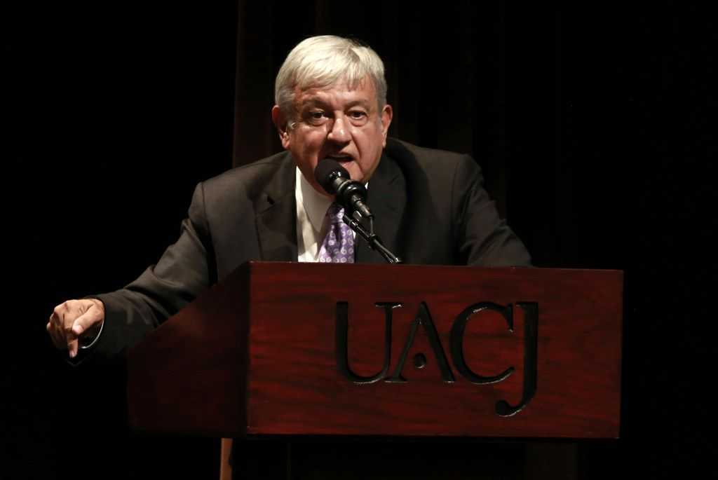 Mexico's President-elect Andres Manuel Lopez Obrador speaks in the first of a series of meetings across the country over the next three months, to address security and national reconciliation in Ciudad Juarez, Mexico, Tuesday, Aug. 7, 2018.