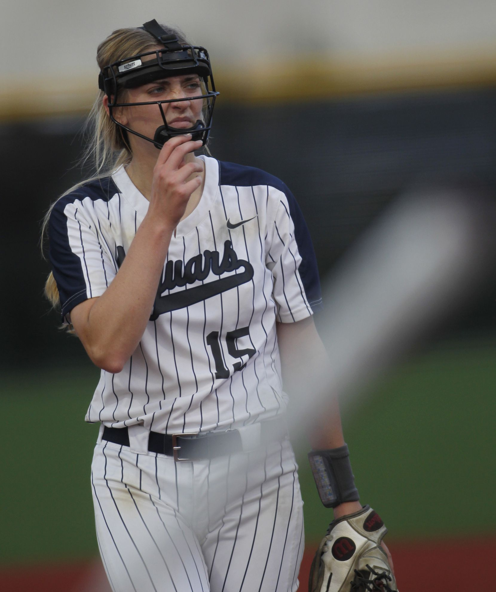 Flower Mound pitcher Landrie Harris (15) reacts after delivering a pitch to a Deer Park batter during the bottom of the 4th inning of play. The two teams played their UIL 6A state softball semifinal game at Leander Glenn High School in Leander on June 4, 2021. (Steve Hamm/ Special Contributor)