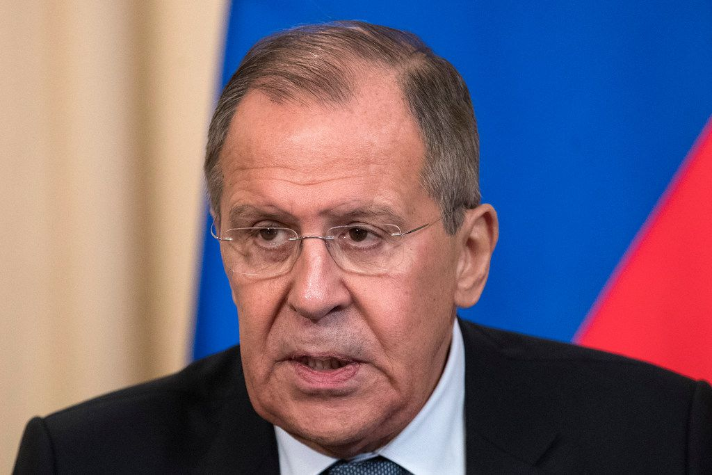 "Russian Foreign Minister Sergey Lavrov speaks to the media at a joint news conference with Dutch Foreign Minister Halbe Zijlstra in Moscow on Friday. Lavrov said Russian experts inspected the site of the alleged attack in the town of Douma in Syria and found no trace of chemical weapons. He said Moscow has ""irrefutable information that it was a fabrication."""