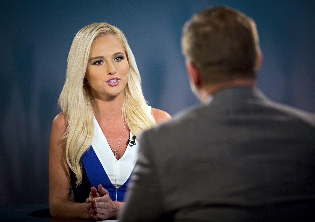 Tomi Lahren  talks with Greenville City Councilman Brent Money during a taping of her show Tuesday, October 11, 2016, in Irving, Texas. Lahren, 24. (G.J. McCarthy/The Dallas Morning News)