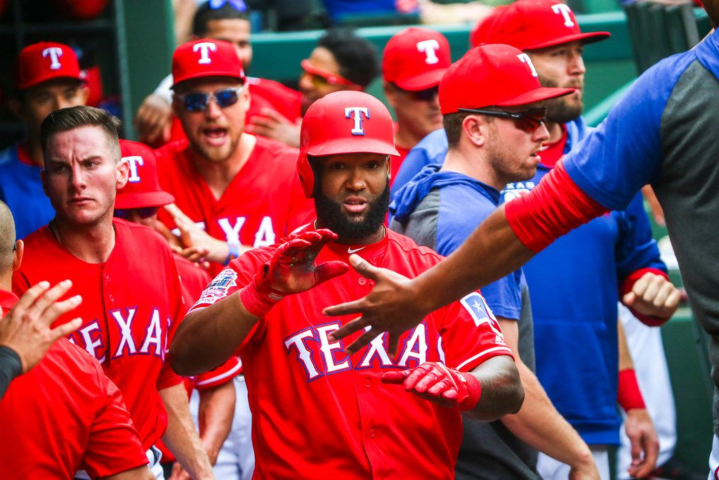 Texas Rangers center fielder Danny Santana (38) is congratulated by his teammates after hitting a home run during a Major League Baseball game at Globe Life Park in Arlington, Texas on Wednesday, May 1, 2019. Texas Rangers lost 7-5. (Shaban Athuman/Staff Photographer)