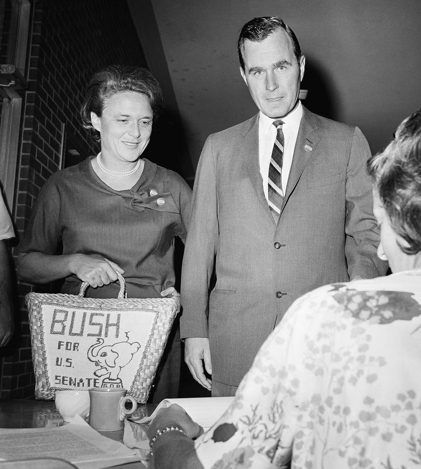 Barbara Bush casts her vote with her husband in Houston for the Texas Senate primary race on June 6, 1964. George H.W. Bush was seeking the Republican victory over opponent Jack Cox, with the winner to oppose Sen. Ralph Yarborough in the November general election.