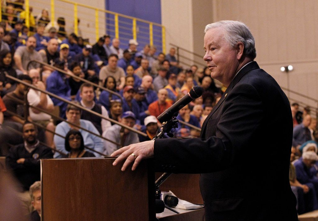 Rep. Joe Barton addresses employees during the announcement of a new stamping facility on Tuesday, January 31, 2012 in Fort Worth, Texas.  Backlash over a leak of video and text messages between Barton and an unidentified woman could trigger a political battle that opens up a long-held Republican seat. (Ron T. Ennis/Fort Worth Star-Telegram/TNS)