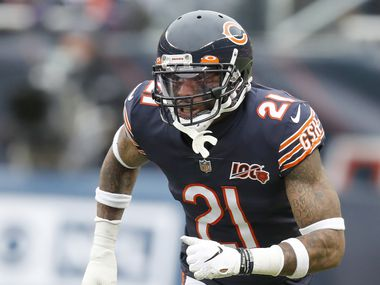 Chicago Bears strong safety Ha Ha Clinton-Dix starts his pass coverage during the first half of an NFL football game against the Detroit Lions in Chicago, Sunday, Nov. 10, 2019.