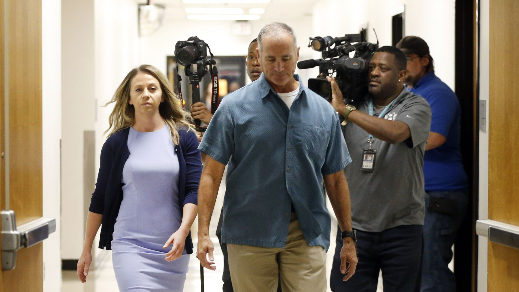 Fired Dallas police Officer Amber Guyger (left) arrives for a pretrial hearing in her murder trial at the Frank Crowley Courthouse in downtown Dallas, Monday, September 16, 2019. Guyger shot and killing Botham Jean, an unarmed man in his own apartment last year. (Tom Fox/The Dallas Morning News)