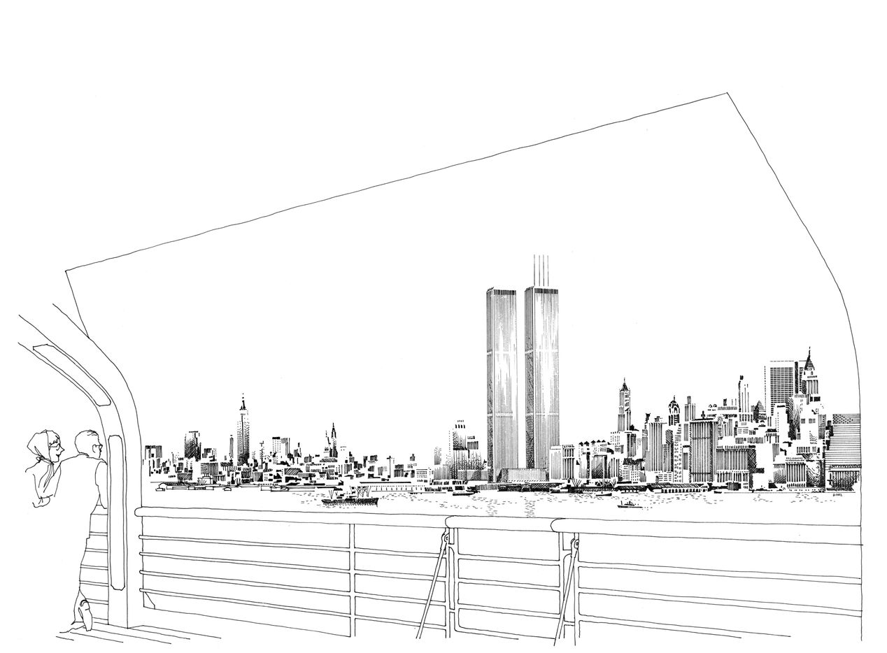 The late architectural illustrator Carlos Diniz called this drawing the Hudson Harbor view of the World Trade Center Twin Towers.
