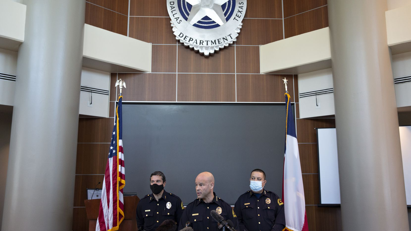Dallas Police Chief Eddie Garcia speaks at a news conference to discuss information over the release of former Dallas police officer Bryan Riser at the Dallas Police Headquarters on April 8, 2021. (Shelby Tauber/Special Contributor)