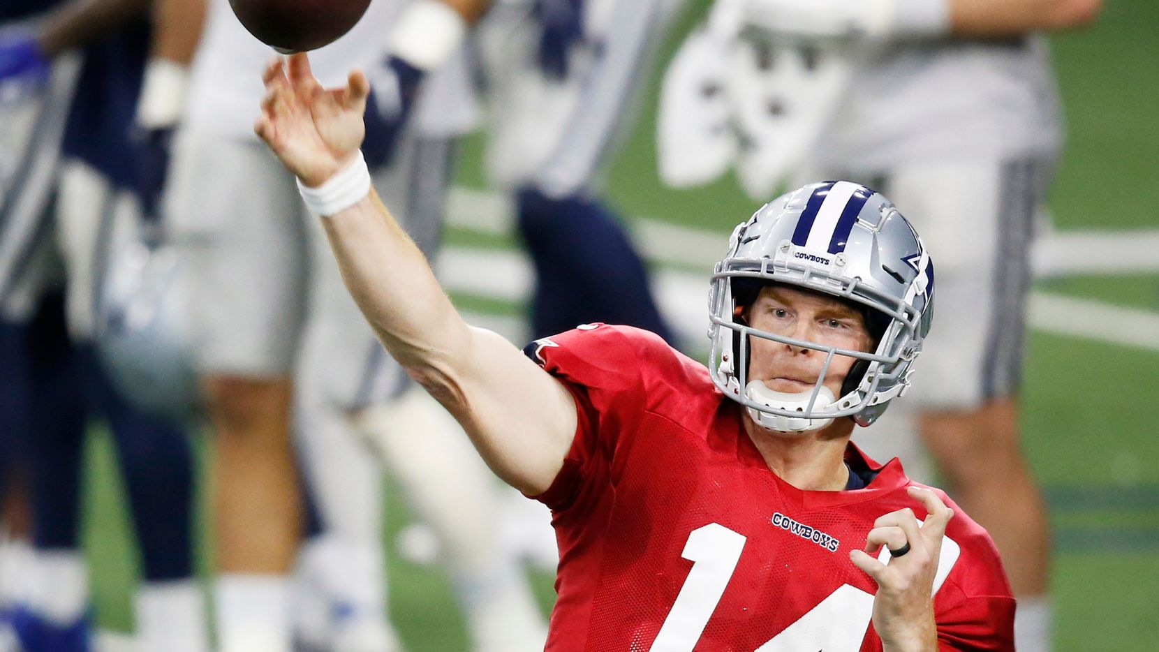 Dallas Cowboys quarterback Andy Dalton (14) attempts a pass in practice during training camp at the Dallas Cowboys headquarters at The Star in Frisco, Texas on Tuesday, August 25, 2020. (Vernon Bryant/The Dallas Morning News)