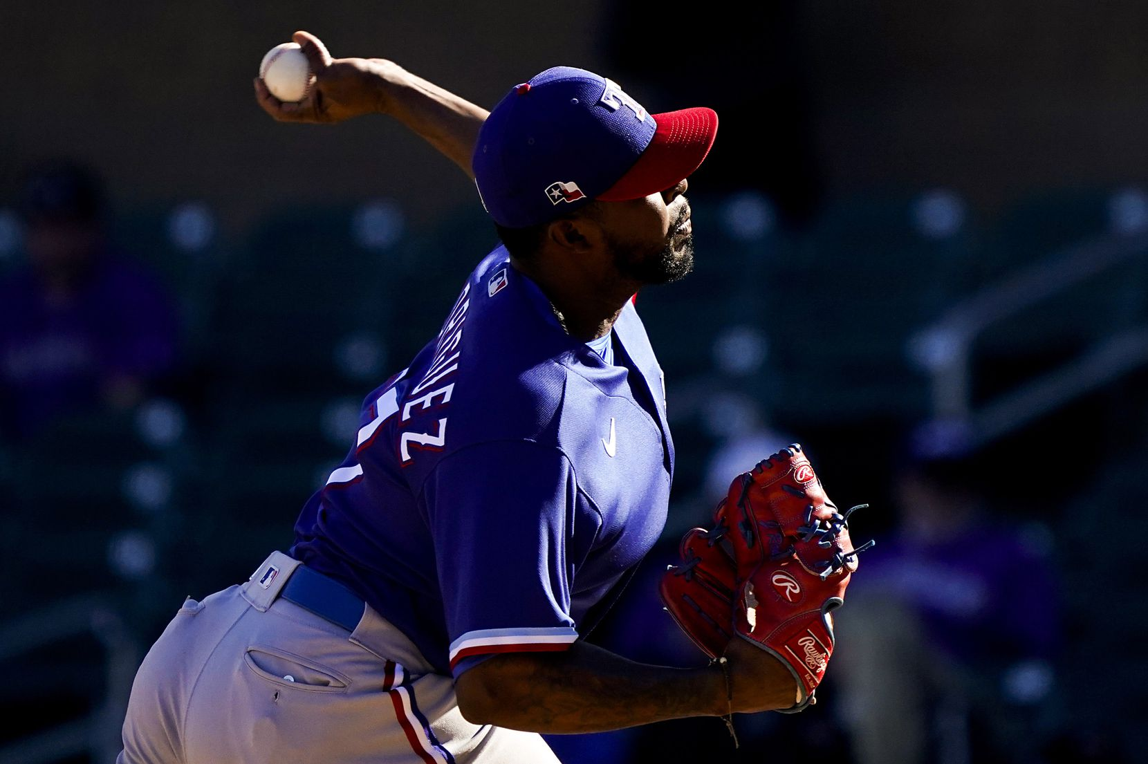 Texas Rangers pitcher Joely Rodriguez pitches during the seventh inning of a spring training game against the Colorado Rockies at Salt River Fields at Talking Stick on Wednesday, Feb. 26, 2020, in Scottsdale, Ariz.