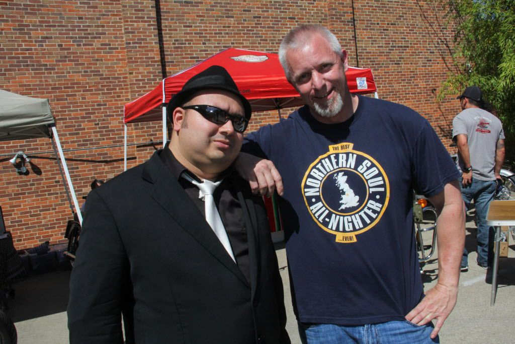John Bravo and Mark Roberts at Rockers vs Mods motorcyle and scooter gathering at Sundown at Granada on March 28, 2015