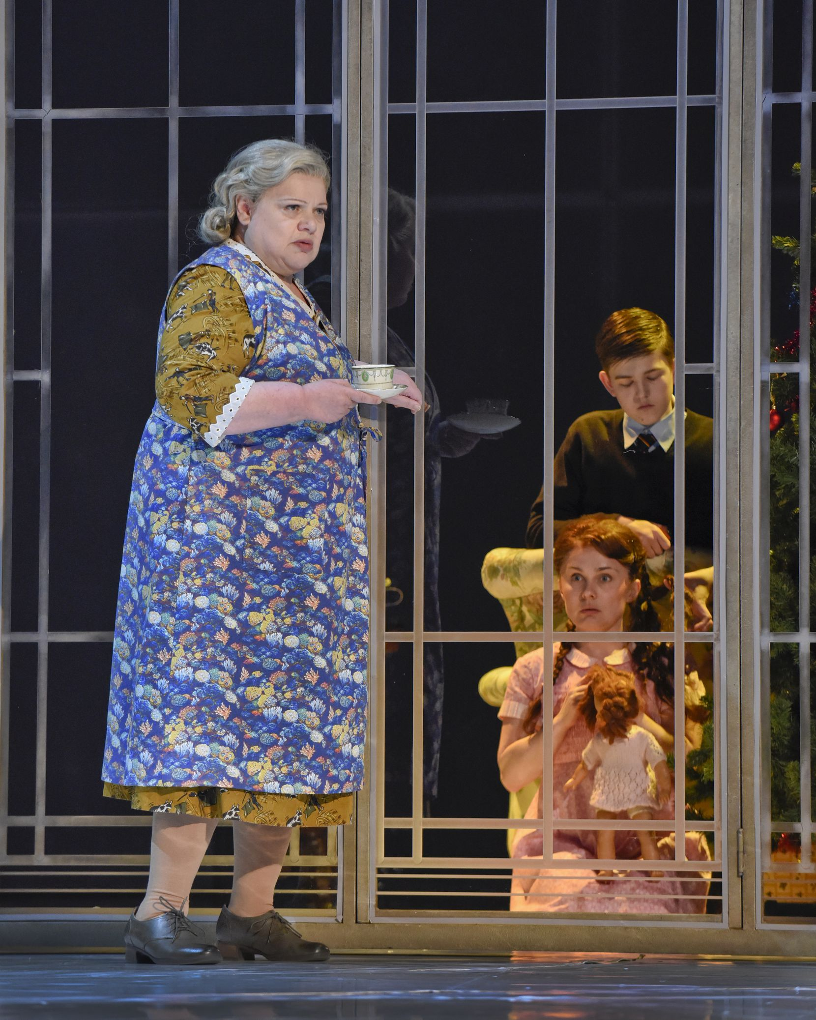 """Dolora Zajick (Mrs. Grose), Ashley Emerson (Flora) and Oliver Nathanielsz (Miles) in Dallas Opera dress rehearsal of """"The Turn of the Screw"""" on March 14, 2017 at Winspear Opera House in downtown Dallas. Karen Almond/Dallas Opera."""