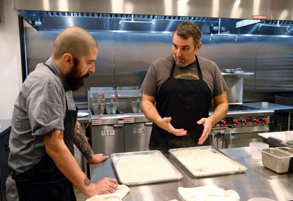 Chef Aaron Courtney, left, and Chef Mike Noyes are in what they call their R&D phase as they fine-tune the market's menu and teach amateur chefs how to cook like pros in the weeks leading up to the eatery's opening.