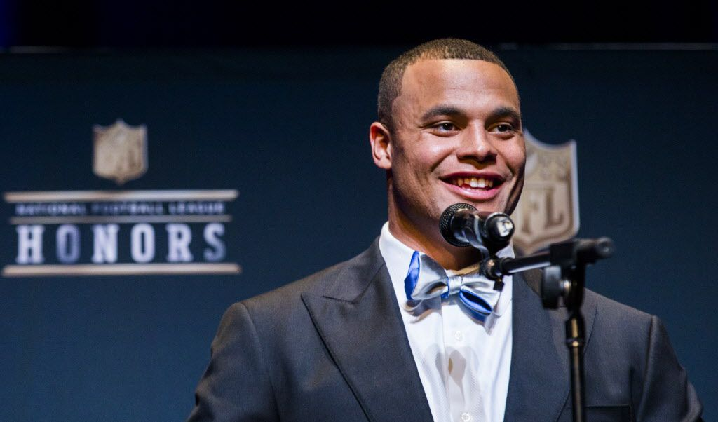 Dallas Cowboys quarterback Dak Prescott speaks to media after winning the AP Offensive Rookie of the Year award at the NFL Honors event at the Wortham Theater Center on Friday, February 4, 2017 in Houston. The event is in advance of Super Bowl LI. (Ashley Landis/The Dallas Morning News)