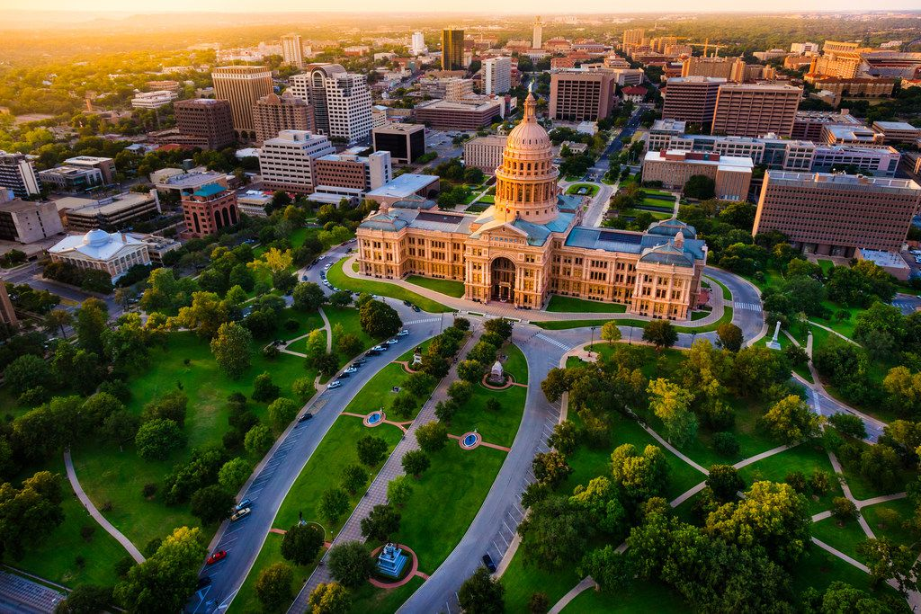 Aerial view of the Texas State Capital building in Austin