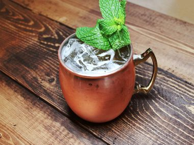 Fort Worth coffee shop Ampersand serves alcoholic beverages like The Ampersand Mule, pictured here. Ampersand on Bledsoe Street in Fort Worth can't serve alcohol for 30 days because it didn't adhere to social distancing and mask rules, according to TABC.