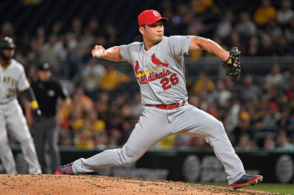 PITTSBURGH, PA - SEPTEMBER 23:  Seung-Hwan Oh #26 of the St. Louis Cardinals delivers a pitch in the eighth inning during the game against the Pittsburgh Pirates at PNC Park on September 23, 2017 in Pittsburgh, Pennsylvania. (Photo by Justin Berl/Getty Images) ORG XMIT: 700012582