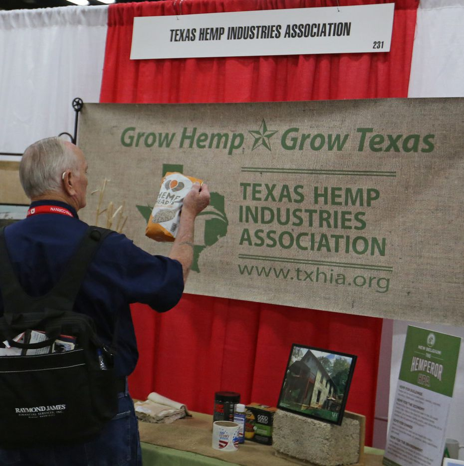 Delegate Dan Hale checks out the display at theTexas Hemp Industries Association booth at the 2018 Texas GOP Convention held at the Henry B. Gonzalez Convention Center in downtown San Antonio. Texas on Thursday, June 14, 2018.