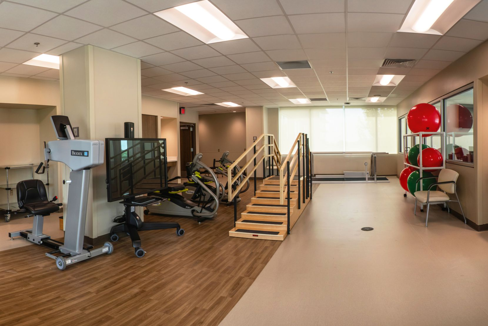 An interior view of Medical City McKinney's new inpatient rehabilitation pavilion at the Medical City McKinney main campus. The facility is now open after two years of construction.