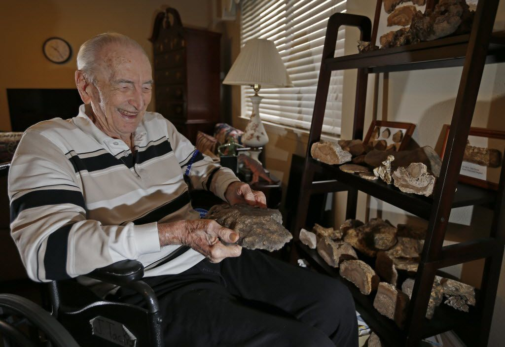 Amateur rock collector John Tackel shares his Dallas apartment with rocks he has collected.