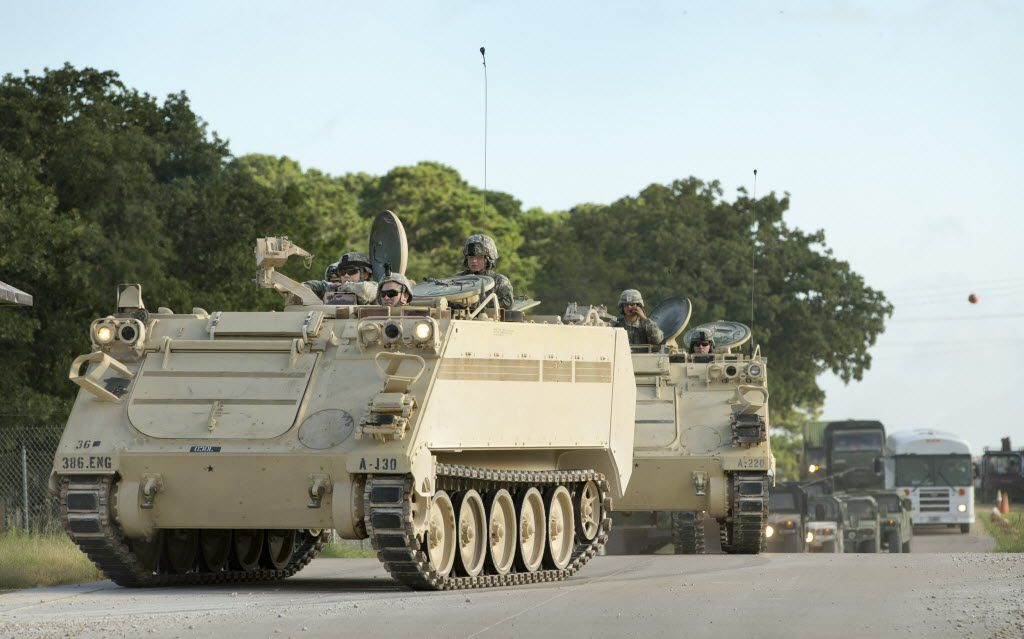 A convoy of National Guard troops moves on Camp Swift in July 2015 as part of the Operation Jade Helm 15 military exercise. Former CIA Director Michael Hayden said controversy about the exercise was driven by misinformation spread by Russia.