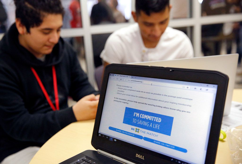 Classmates of Duncanville High School freshman David Mojica sign up to be bone marrow donors during lunchtime in the high school cafeteria in Duncanville, Texas, Thursday, March 21, 2019. The marrow drive was for Mojica, who suffers from aplastic anemia, a rare and life-threatening blood disorder. But its also for those who are also in need of a bone-marrow transplant. The May 2018 diagnosis quickly put David in desperate need of a transplant.