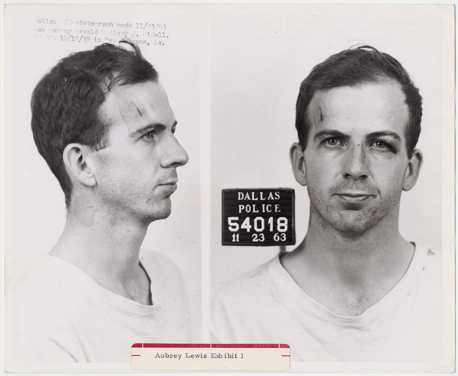 In 2013, to observe the 50th anniversary of President John F. Kennedy's death in Dallas, the National Archives digitized many materials relating to his assassination. These Dallas Police Department booking photos of Lee Harvey Oswald, taken Nov. 23, 1963, are among the images that had previously only been available in hard copy form. (Warren Commission, Aubrey Lewis Exhibit 1)