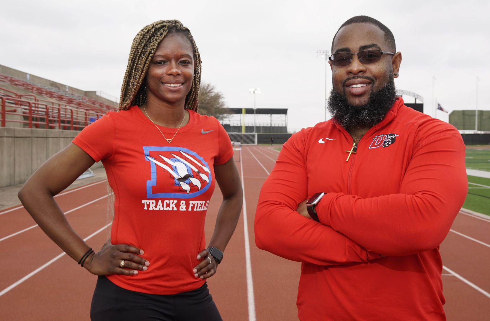 Duncanville boys track coach Leon Paul (right), pictured earlier this year with sprint coach LaKeidra Stewart, has been selected as the new head football coach at Lancaster. (Lawrence Jenkins/Special Contributor)