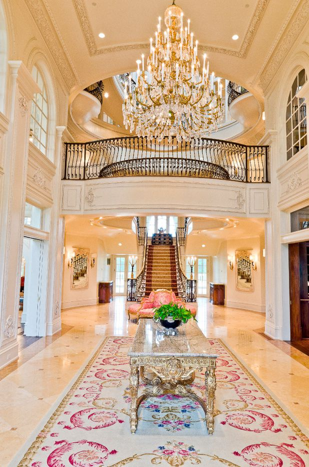 The entry hall of the Champ d'Or estate, a baroque French chateau located in Hickory Creek north of Lake Lewsville.