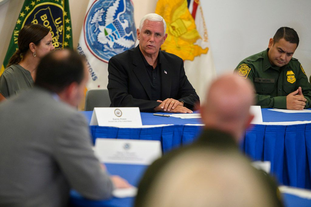 Vice President Pence and Republican members of the Senate Judiciary Committee participate in a roundtable discussion at the Customs and Border Protection station in McAllen, Texas, on Friday.