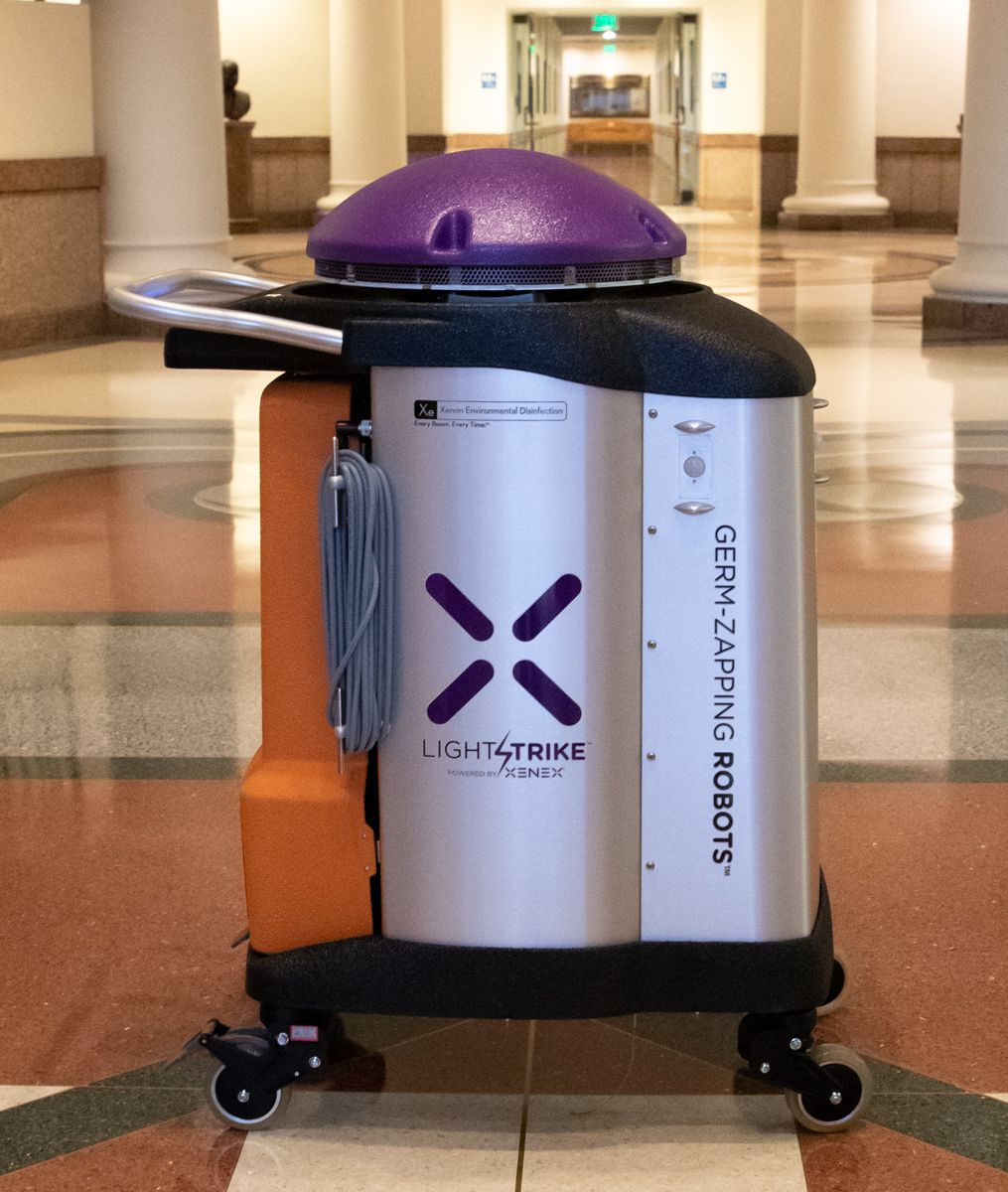 To protect visitors and Texas Capitol occupants from exposure to COVID-19 during next year's session, the Texas House and Senate will use mobile sanitizing machines made by San Antonio-based Xenex Disinfection Services Inc. Each chamber will have five. One is shown in a hallway at the Capitol Extension in Austin on Sept. 22, 2020. They'll be deployed in the Capitol, Extension, John H. Reagan Building and Sam Houston Building, officials said.