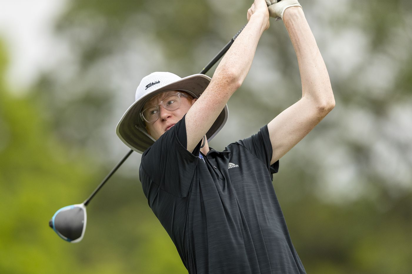 Plano WestÕs Jarrett Grinnell hits from the 5th tee box during the final round of the UIL Class 6A boys golf tournament in Georgetown, Tuesday, May 18, 2021. (Stephen Spillman/Special Contributor)
