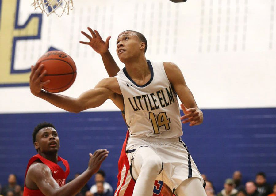 FILE - RJ Hampton scores on South Garland during the third quarter of a game at Little Elm High School in Little Elm on Friday, Dec. 14, 2018. (Rose Baca/The Dallas Morning News)
