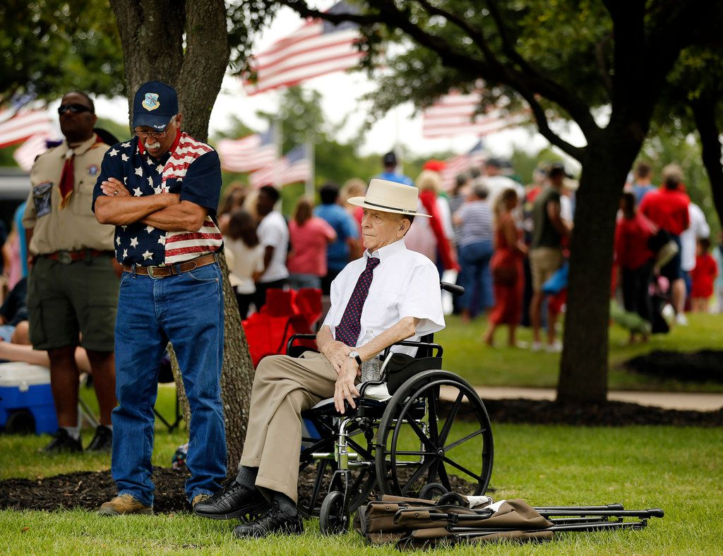 Army veteran Joe Walker of Greenville (right) joined his friend Tony Huerta of Caddo Mills at Monday's event.