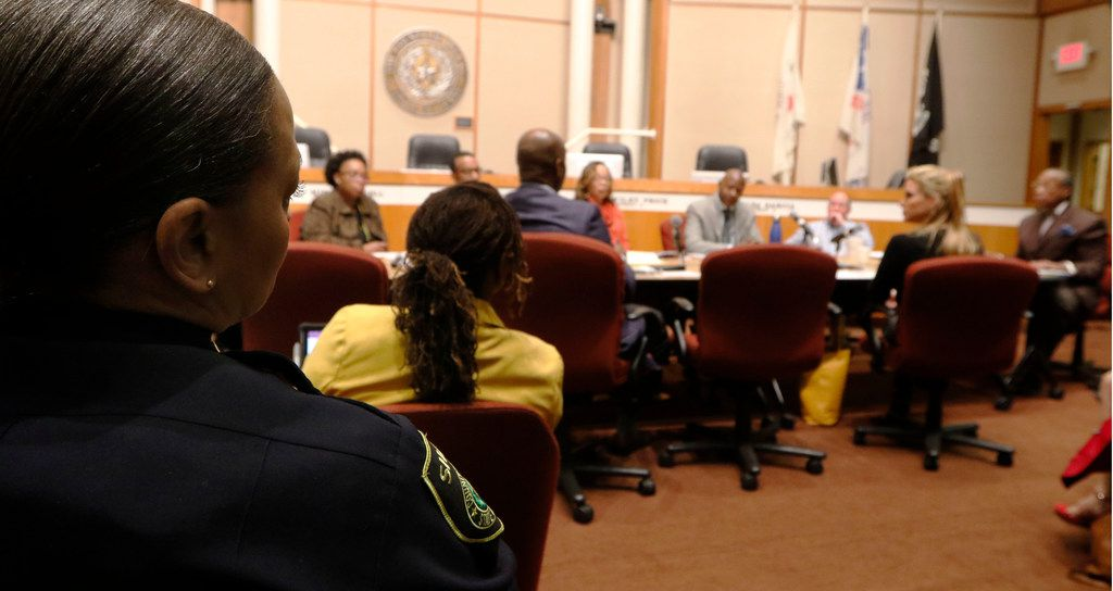 Interim Dallas County Sheriff Marian Brown, left, listens as Dallas County Commissioner John Wiley Price talks in a meeting to discuss ways to take better care of women in Dallas County Jail at the Dallas County Commissioners Court, Tuesday, January 9, 2018. (David Woo/The Dallas Morning News)
