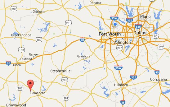 The red marker is where Sidney ISD is situated in Comanche Country, about 160 miles southwest of Dallas.